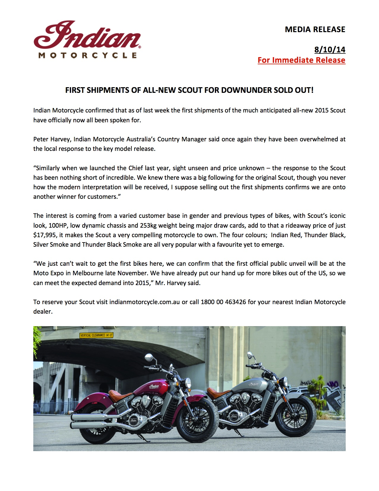 Indian Motorcycle Australia Press Release - Scout First Shipments Sold Out